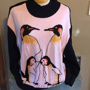 St John pink and black penguin sweater, L